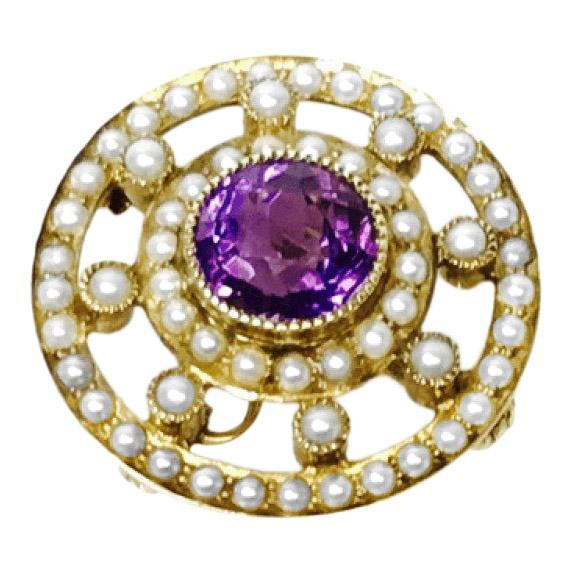 Antique Amethyst and Seed Pearl Brooch/Pendant Brooches & Pins Antiques