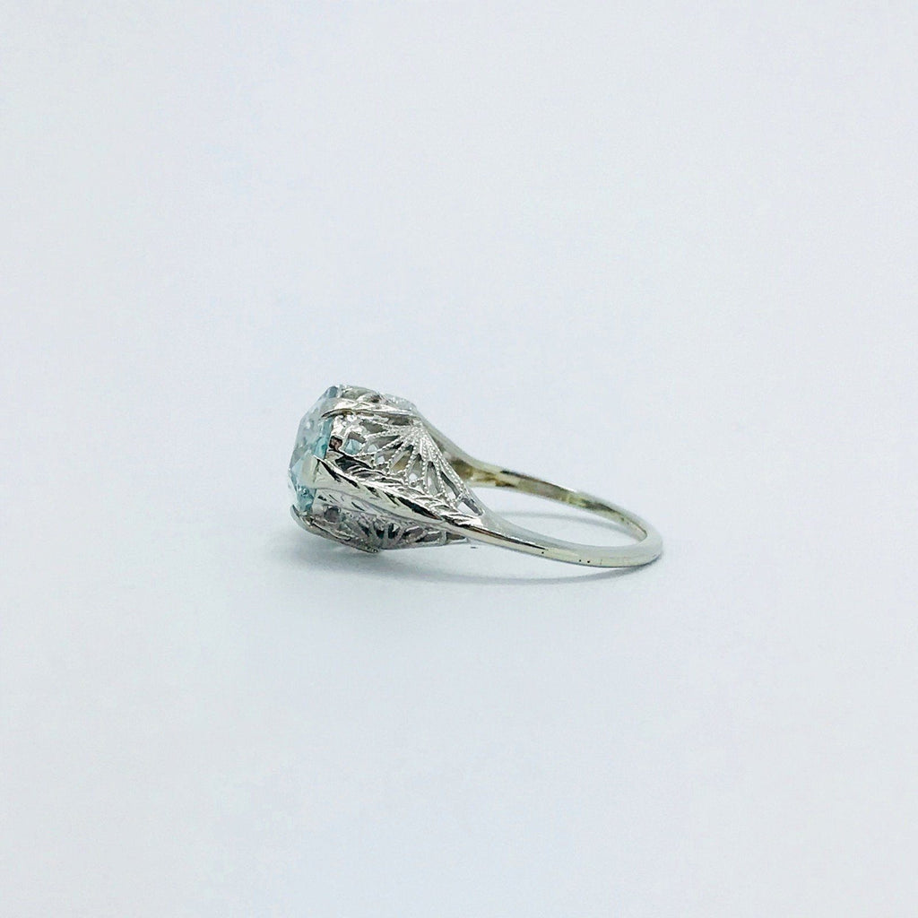Antique Aquamarine Solitaire Ring - Rings