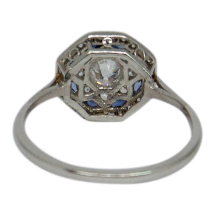 Antique Art Deco Diamond & Blue Sapphire Ring Rings Antiques
