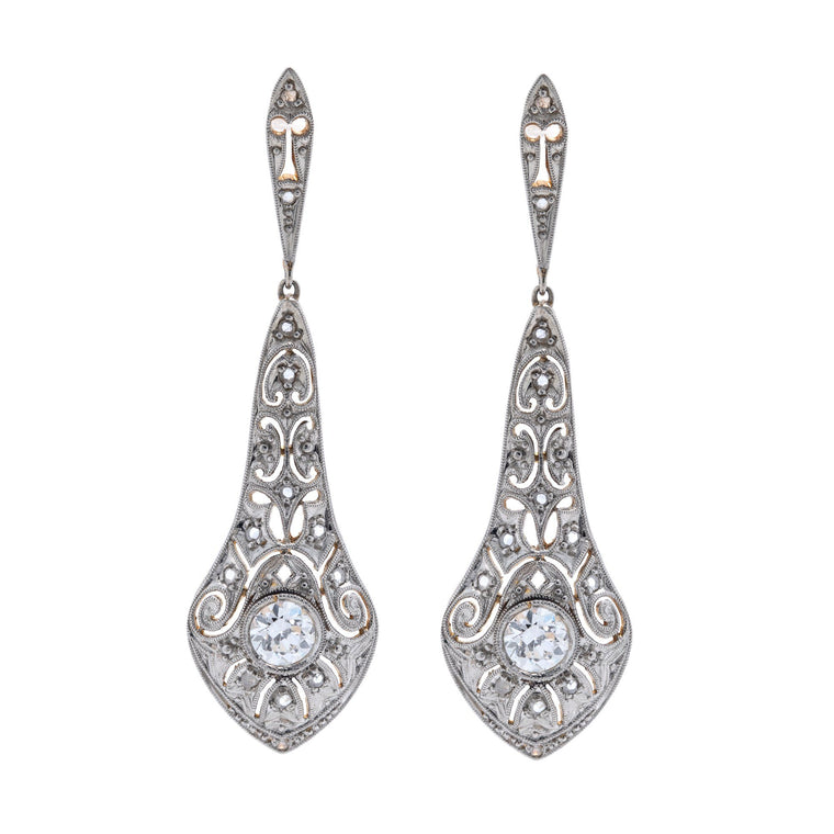 Antique Art Deco Diamond Drop Earrings Earrings Antiques