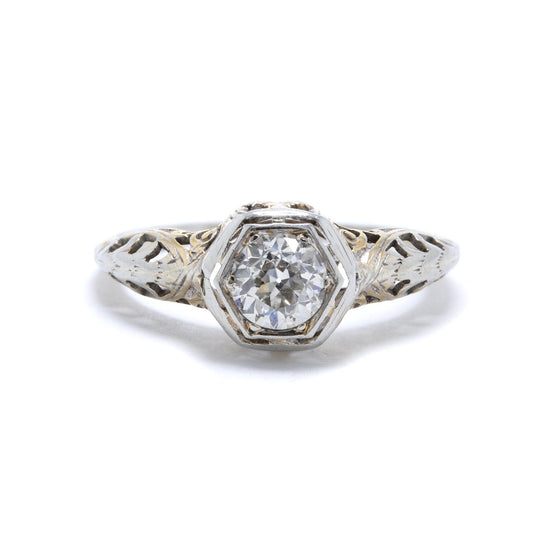 Antique Art Deco Solitaire Diamond Engagement Ring Rings Antiques