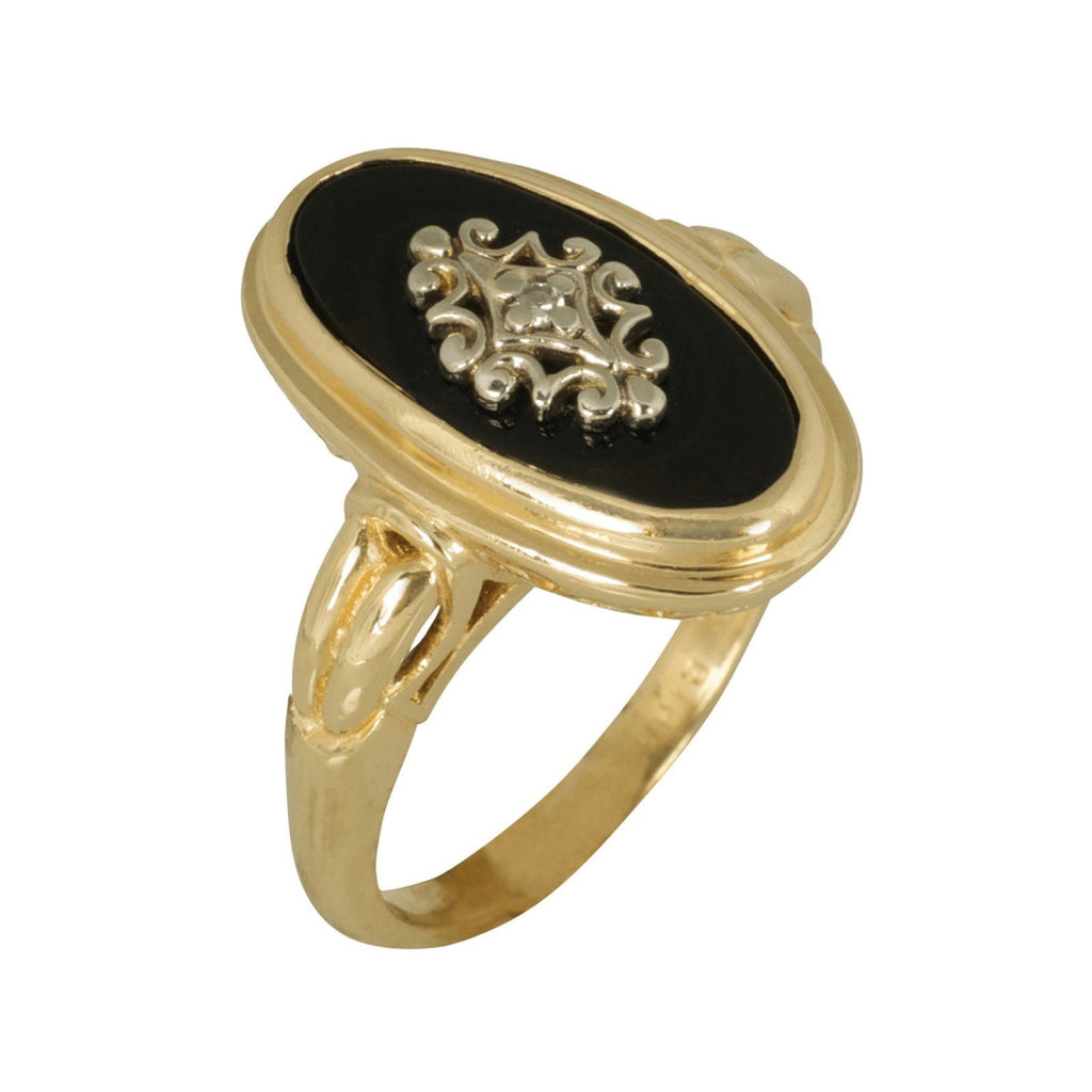Antique Birks Black Onyx And Diamond Ring - Rings