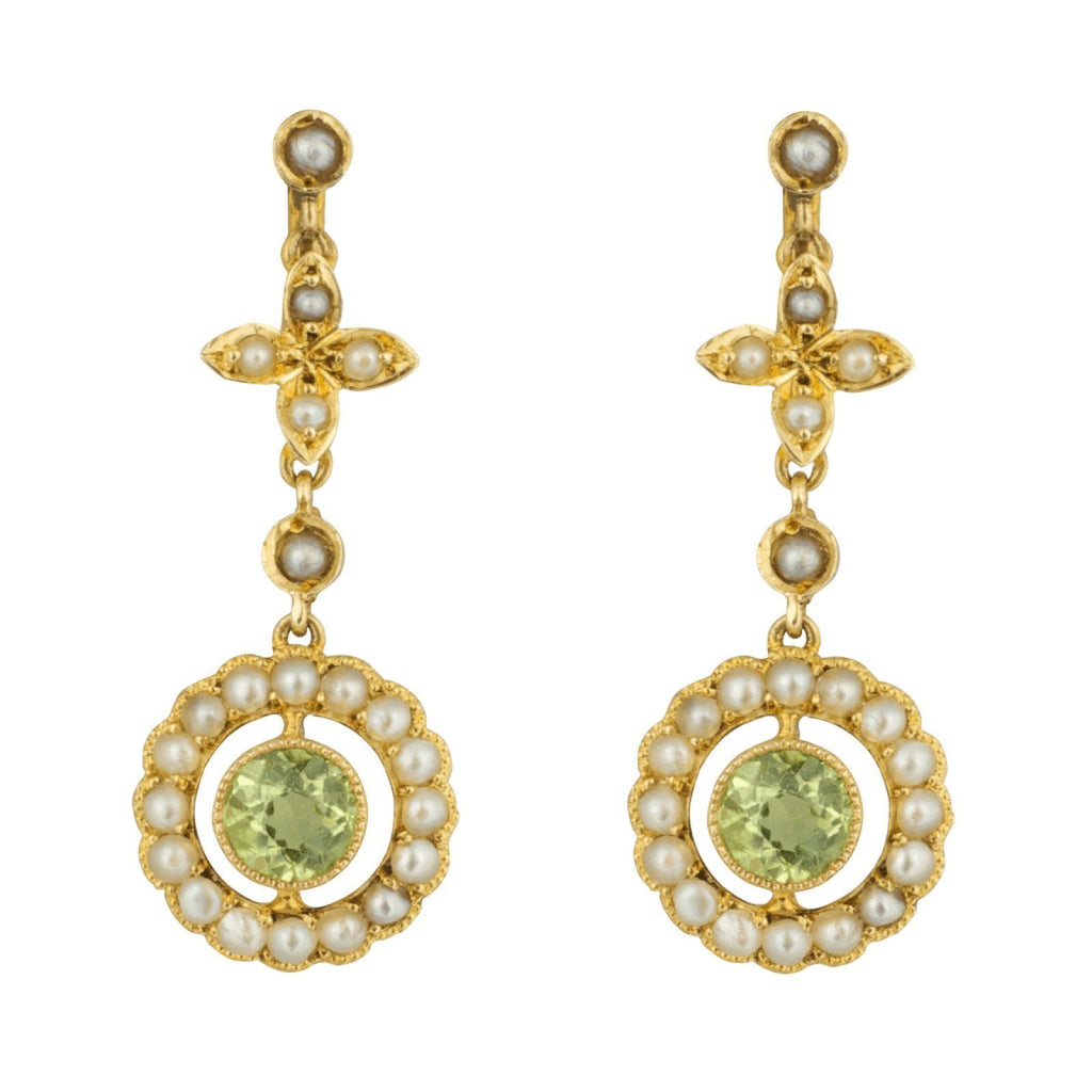 Antique Birks Peridot and Seed Pearl Drop Earrings Earrings Antiques