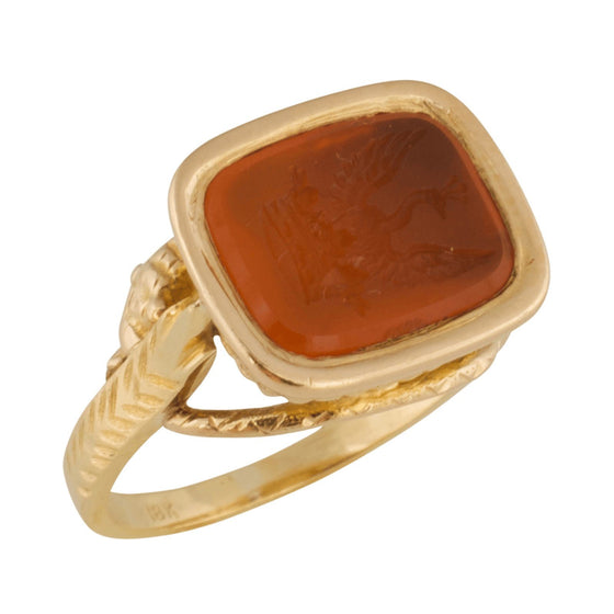 Antique Carved Carnelian Intaglio Ring - Rings