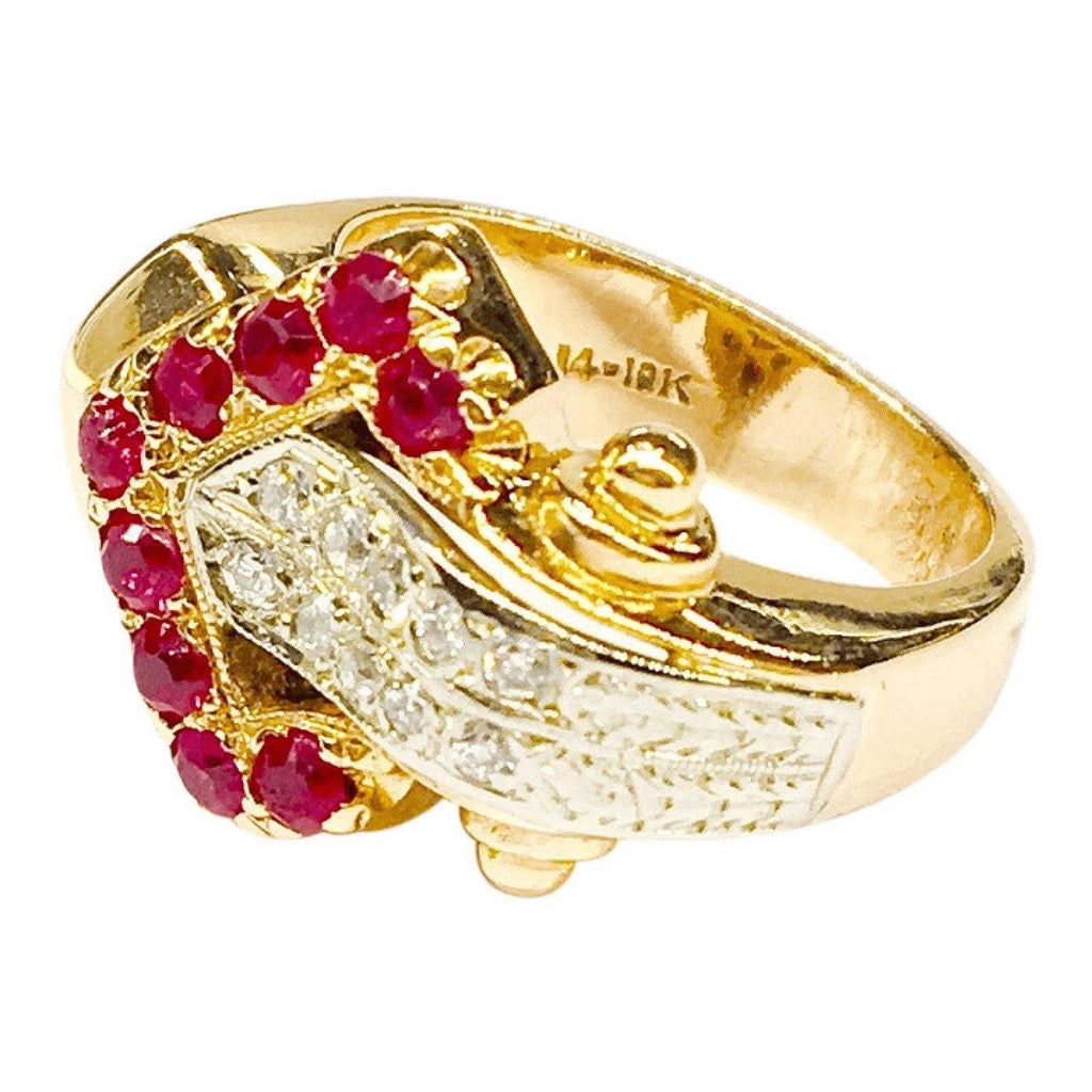 Antique Double Row Diamond and Ruby Ring Rings Antiques