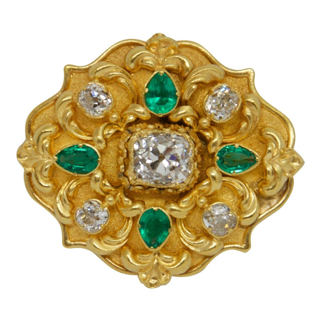 Antique Emerald and Diamond Brooch Brooches & Pins Antiques