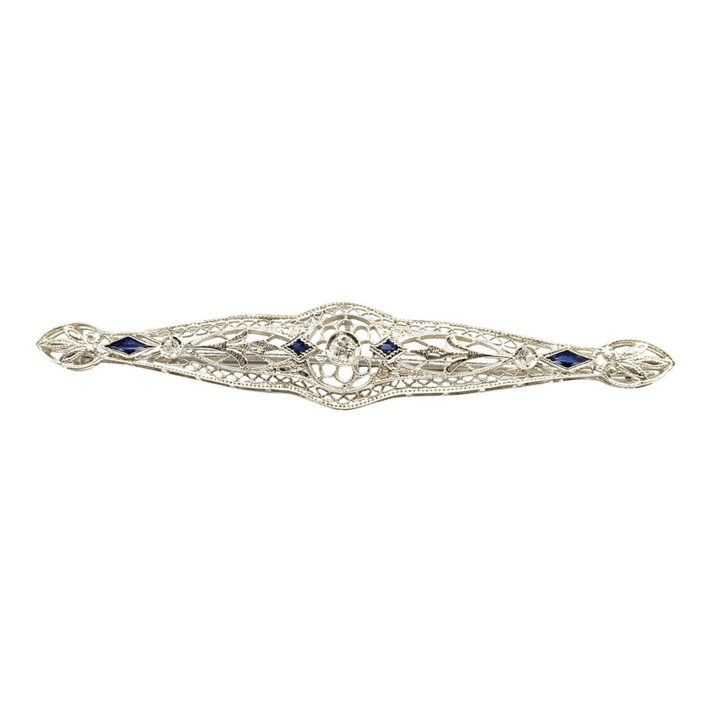 Antique Filigree Diamond And Sapphire Bar Brooch - Brooches & Pins