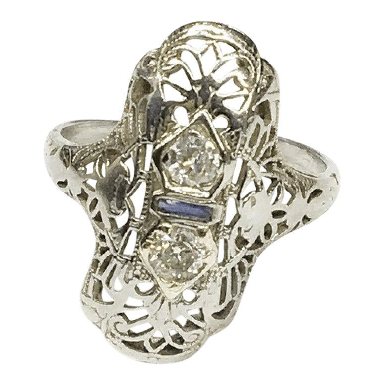 Antique Filigree Diamond Ring - Rings