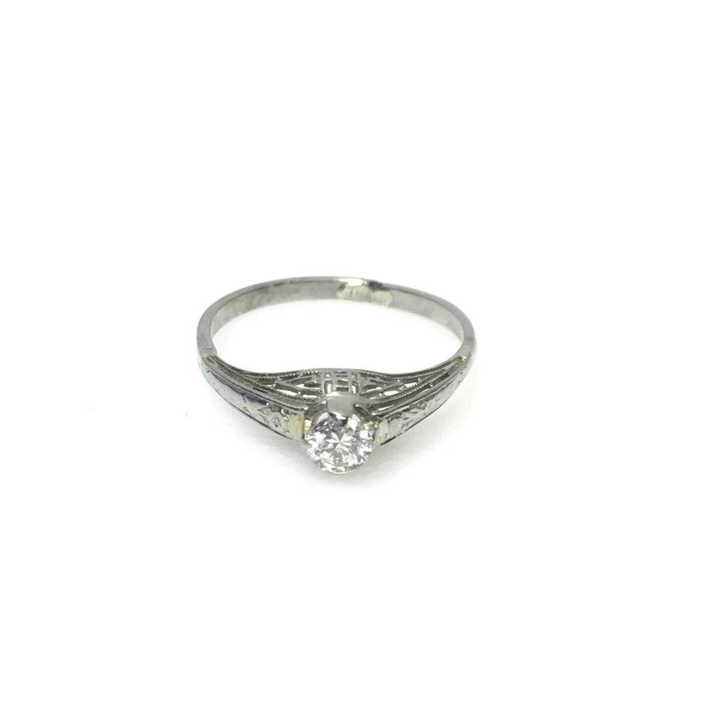 Antique Filigree Diamond Solitaire Ring Rings Antiques