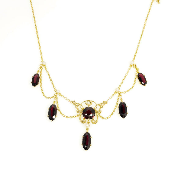 Antique Garnet and Seed Pearl Necklace Necklaces Antiques