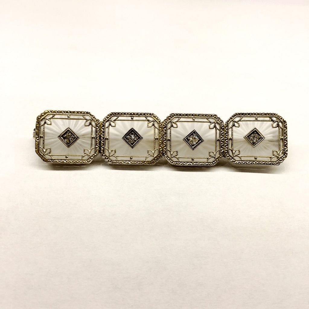 Antique Hand Assembled Diamond And Quartz Bar Brooch - Brooches & Pins