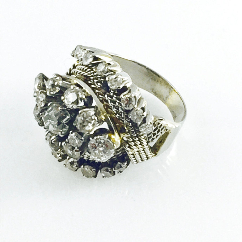 Antique Hand Assembled Diamond Cluster Ring - Rings
