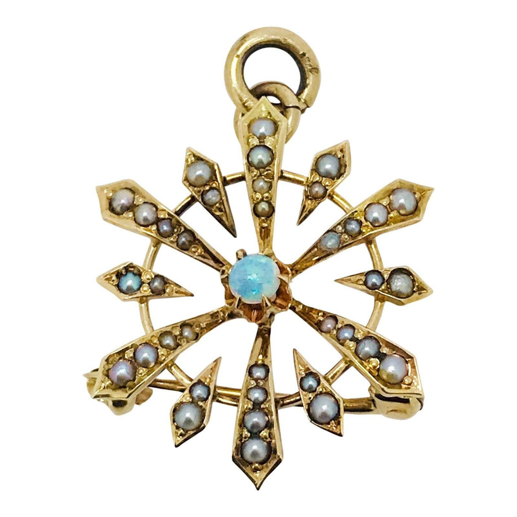 Antique Opal And Seed Pearl Pendant/brooch - Brooches & Pins