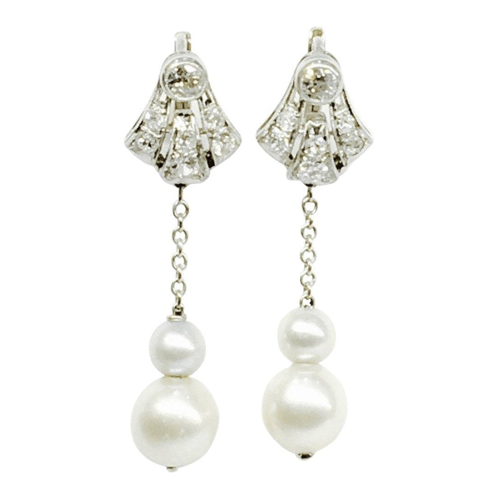 Antique Pearl and Diamond Drop Earrings Earrings Antiques