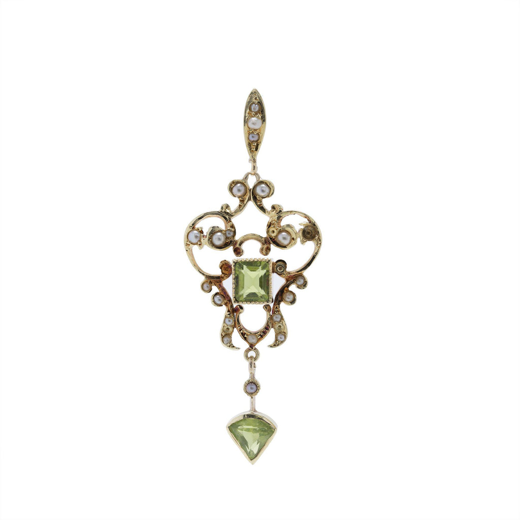 Antique Peridot & Seed Pearl Pendant Charms & Pendants Antiques