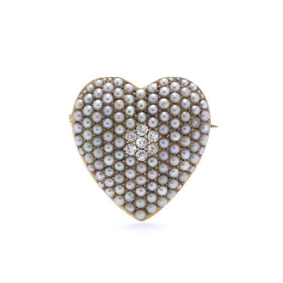 Antique Seed Pearl & Diamond Heart Pendant/Brooch Brooches & Pins Antiques