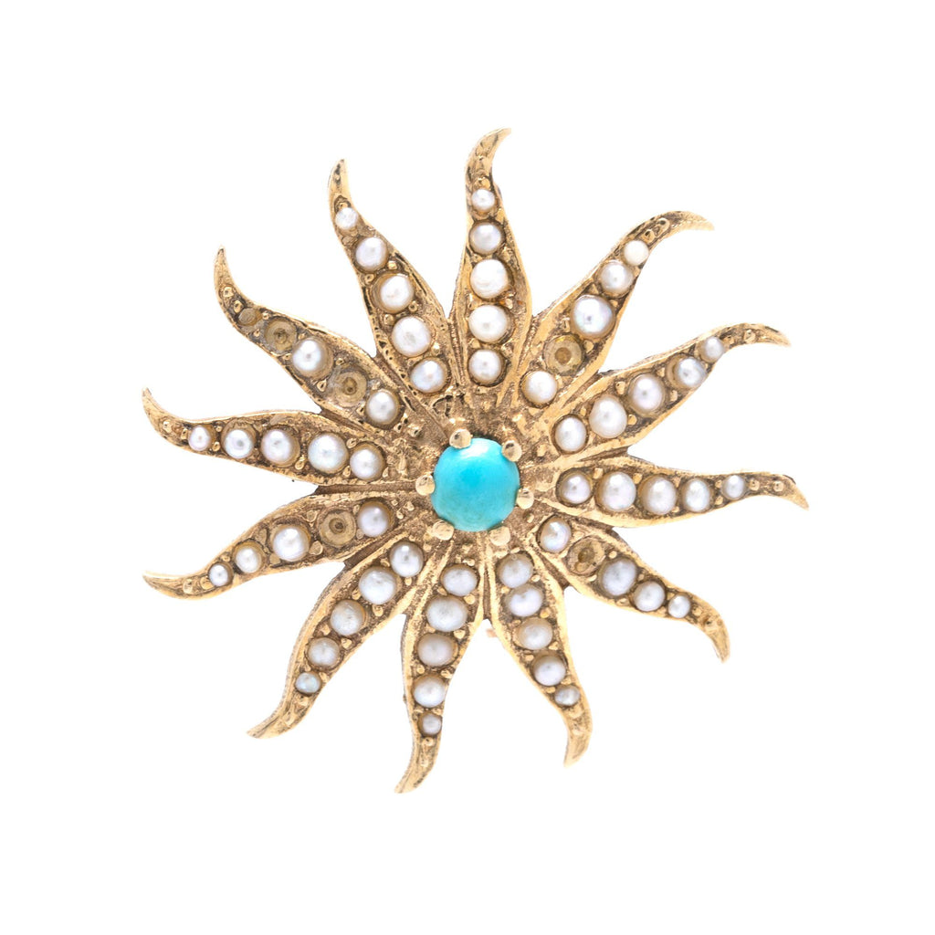Antique Starburst Brooch with Turquoise & Seed Pearls Brooches & Pins Antiques