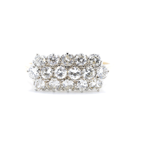 Antique Three-Row Diamond Ring Rings Antiques