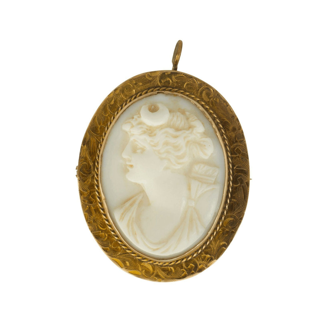 Antique White Cameo Brooch/Pendant Brooches & Pins Antiques