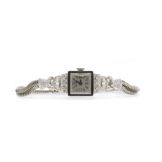 Antique White Gold & Diamond Bulova Watch Watches Antiques