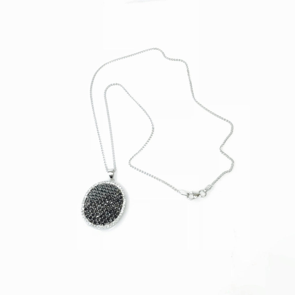 Black and White Diamond Cluster Pendant Necklace Necklaces Miscellaneous
