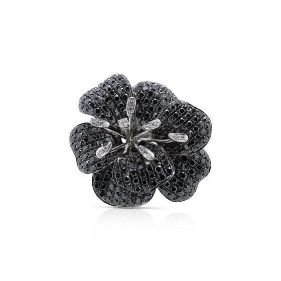 Black and White Diamond Cocktail Ring Rings Miscellaneous