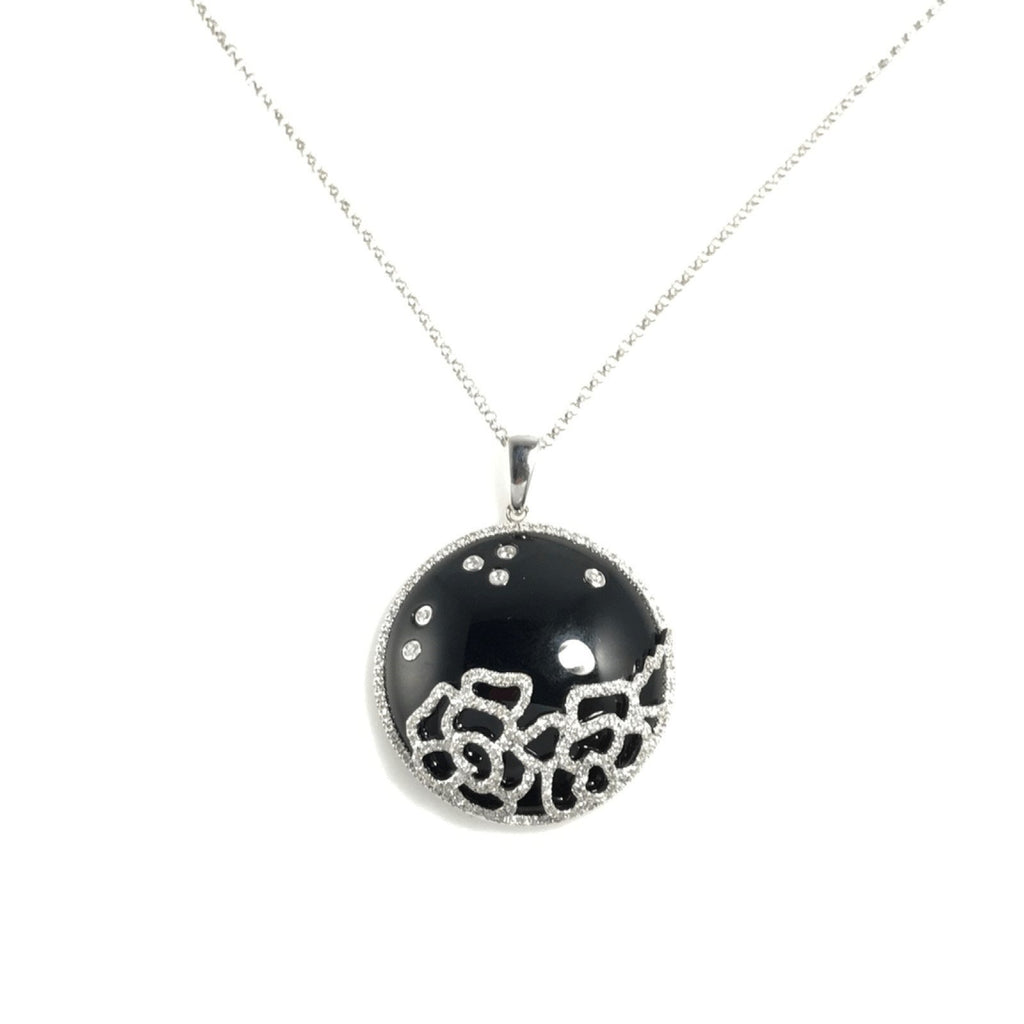Black Onyx and DIamond Pendant Necklace Necklaces Miscellaneous