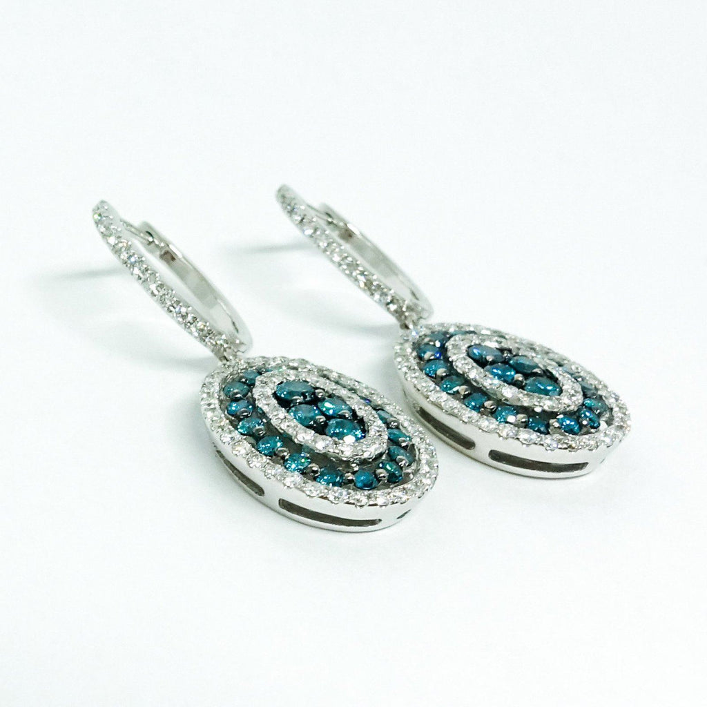 Blue And White Diamond Drop Earrings - Earrings