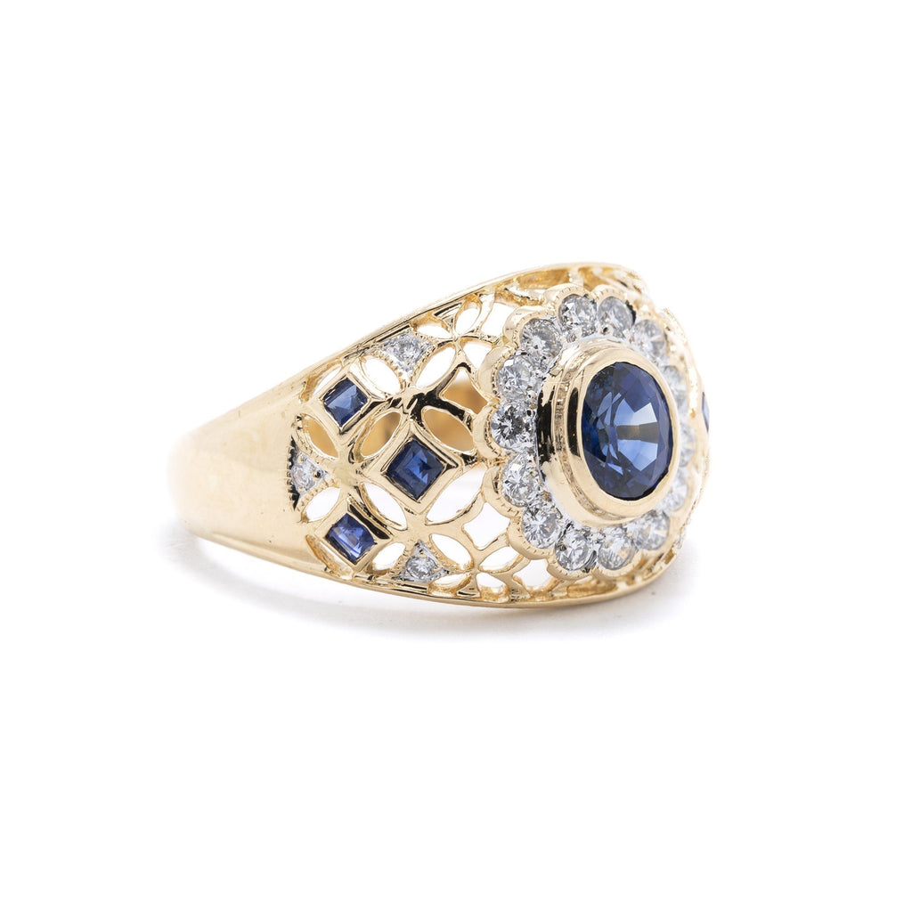 Blue Sapphire & Diamond Cocktail Ring Rings Miscellaneous