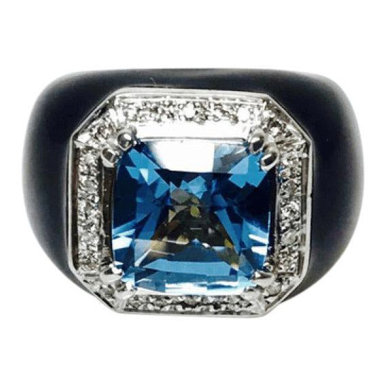 Blue Topaz and Diamond Ring in 18kt Yellow and White Gold with Black Enamel Finish Rings Miscellaneous