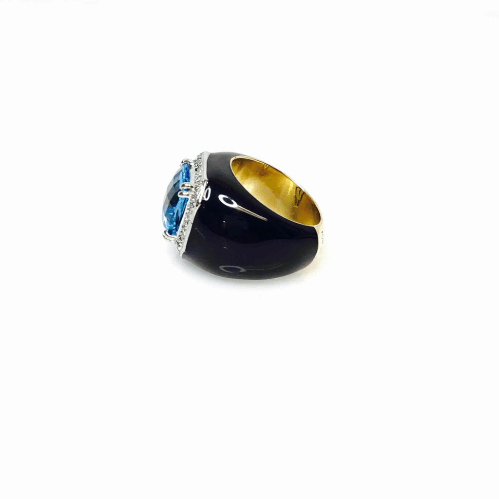 Blue Topaz And Diamond Ring In 18Kt Yellow And White Gold With Black Enamel Finish - Rings