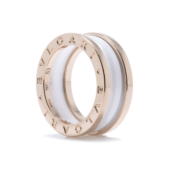 Bulgari B.Zero1 Two-Band Ring with Rose Gold and White Ceramic Rings Bulgari