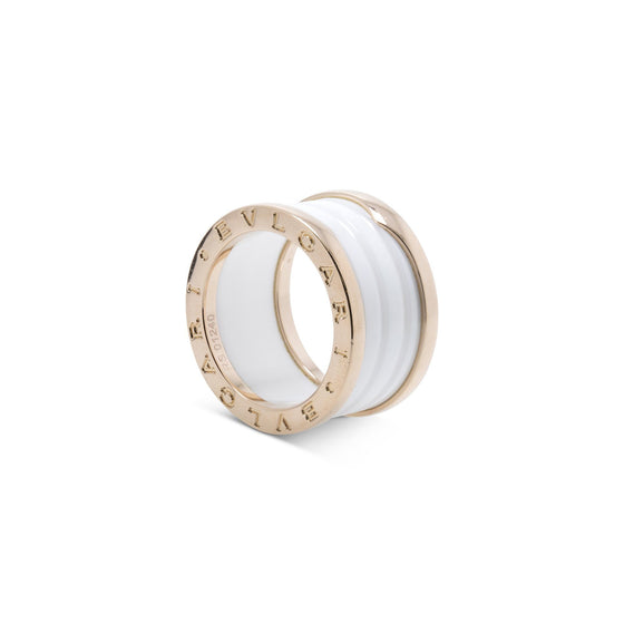 BVLGARI 18k Rose Gold & White Ceramic B.Zero1 Four-Band Ring Rings Bulgari