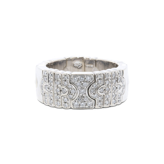 BVLGARI 18k White Gold and Diamond Flexible Parentesi Band Ring Rings Bulgari