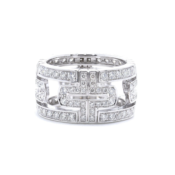 BVLGARI 18k White Gold Diamond Parentesi Ring Rings Bulgari