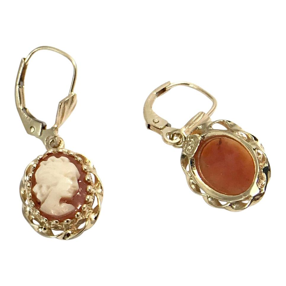 Cameo Earrings In 14 Karat Yellow Gold - Earrings