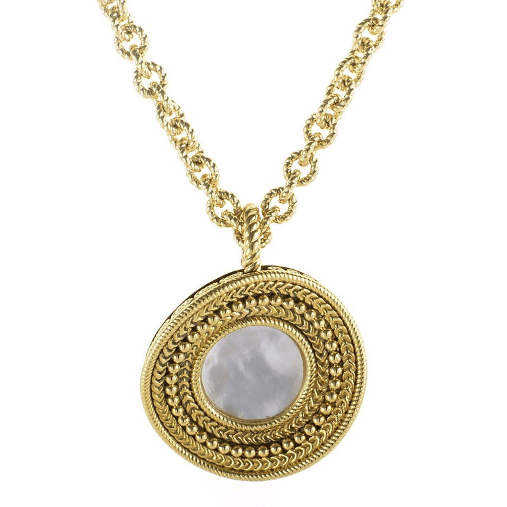 Carrera Y Carrera Mother of Pearl Gold Ruedo Pendant Necklace Necklaces Miscellaneous