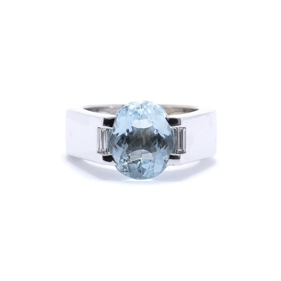 Cartier 18k White Gold Aquamarine & Diamond Ring Rings Cartier