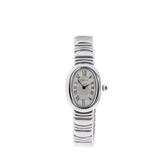 Cartier 18k White Gold Baignoire Watch, Small Model Watches Cartier