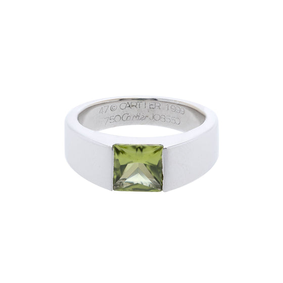 Cartier 18k White Gold Peridot Tank Ring Rings Cartier