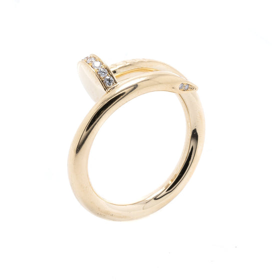 Cartier 18k Yellow Gold Juste Un Clou Ring with Diamonds Rings Cartier
