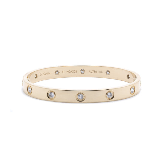 Cartier 18k Yellow Gold Love Bracelet with 10 Diamonds Bracelets Cartier