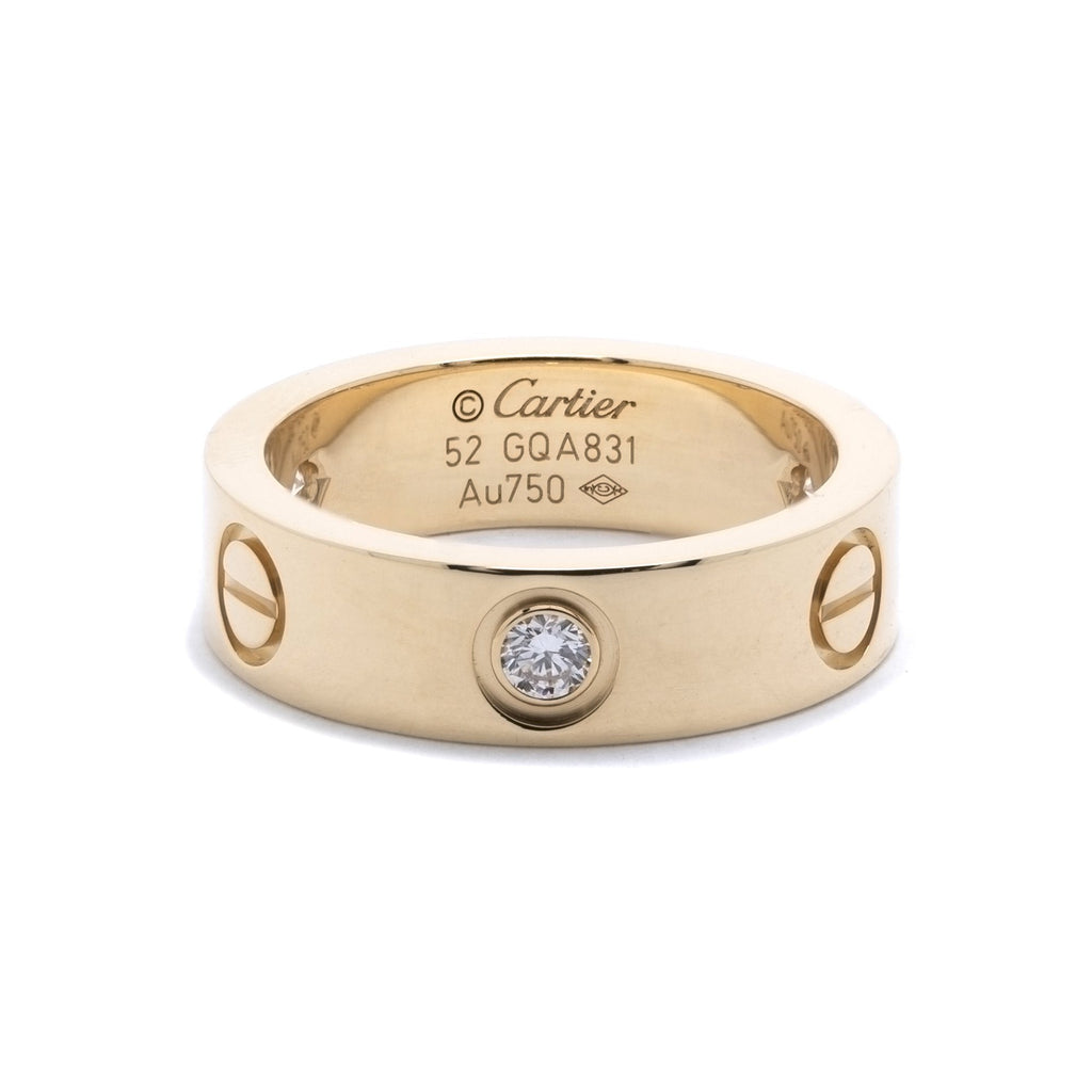 Cartier 18k Yellow Gold Love Ring with 3 Diamonds Rings Cartier