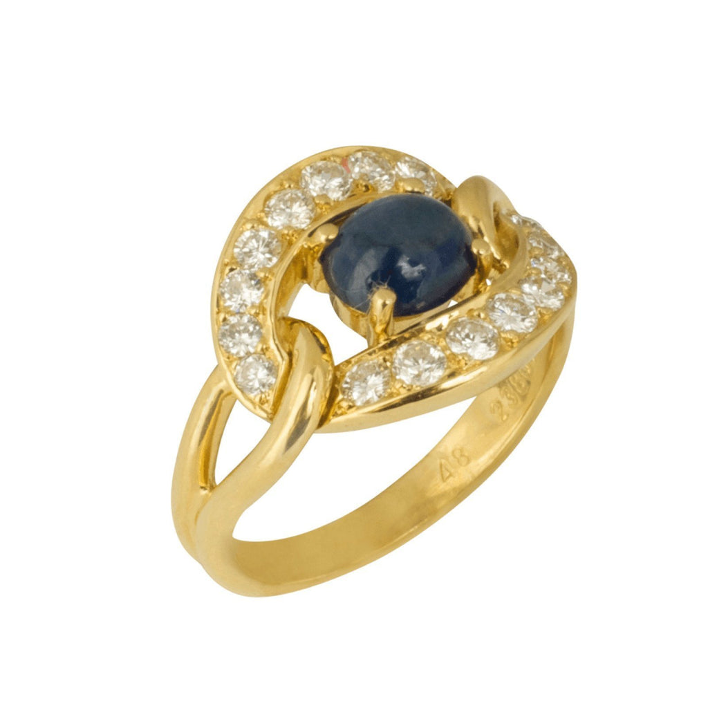 Cartier Cabochon Sapphire and Diamond Ring Rings Cartier