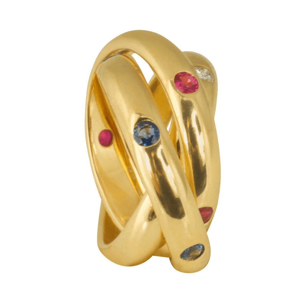 Cartier Diamond, Sapphire, and Ruby 3 Band Rolling Ring Rings Cartier