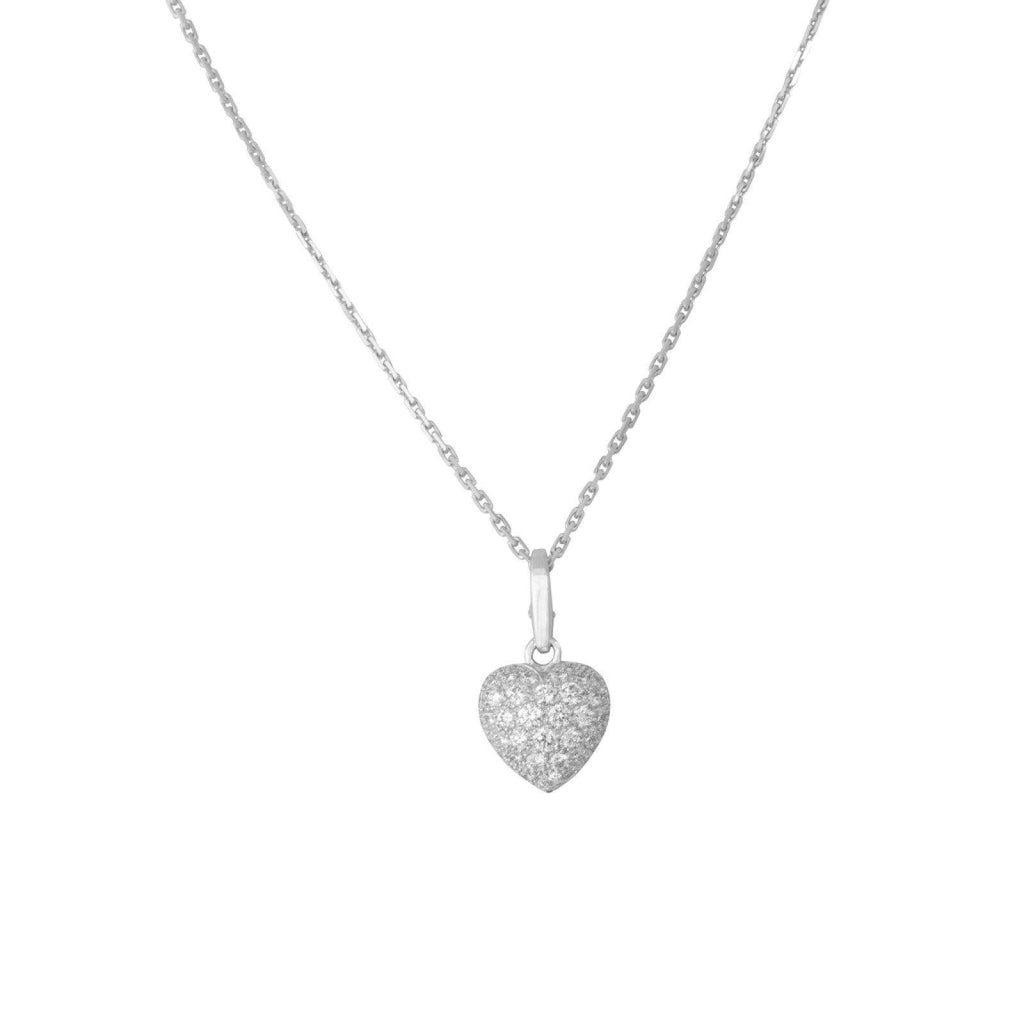 Cartier Pave Diamond Heart Charm Pendant Necklaces Cartier