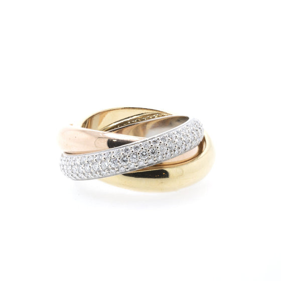Cartier Pave Diamond Trinity Rolling Ring Rings Cartier