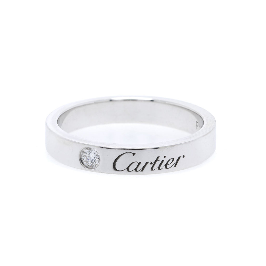 Cartier Platinum C de Cartier Diamond Wedding Band Ring Rings Cartier