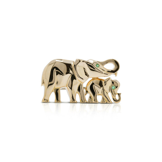 Cartier Rare 18k Gold & Emerald Khandy Collection Vintage Elephant Brooch Brooches & Pins Cartier