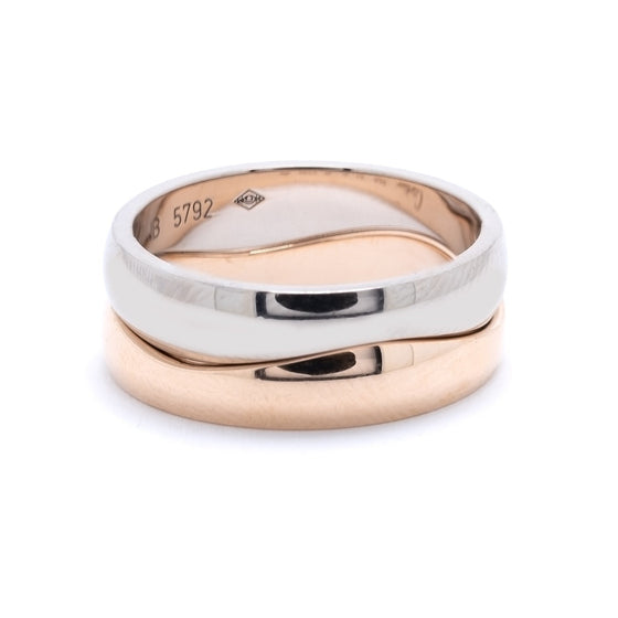 Cartier Rose & White Gold Double Stack Wave Band Ring Rings Cartier